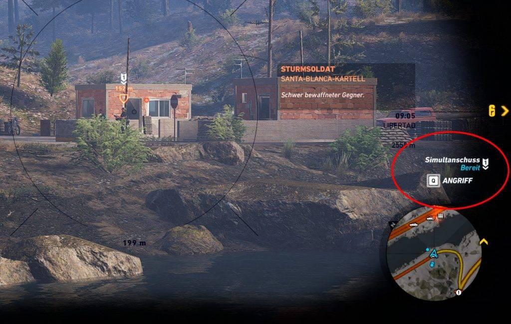 Abbrechen eines Simultanschusses (Entfernen der Markierung) in Ghost Recon Wildlands