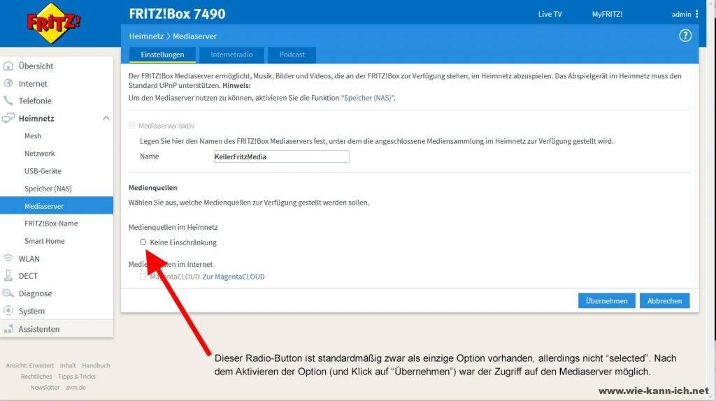 FritzBox Mediaserver Zugriff Panasonic